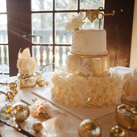 Glam Gold and Ivory Winter Cake