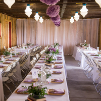 Purple Barn Reception Decor