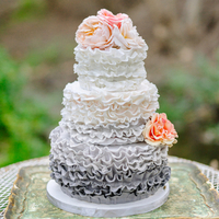 Grey Ruffled Ombre Wedding Cake