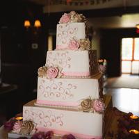 Pink Swirl Wedding Cake