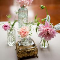 Pink Blooms in Vintage Bud Vases