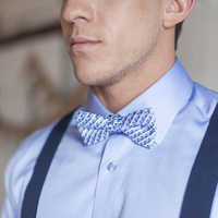 Blue Basketweave Bow Tie