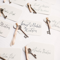 Calligraphy Key Escort Cards