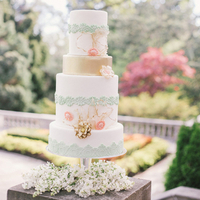 Mint, Pink, and Gold Cake