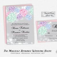Romantic Pastel Wedding Invitation Suite- Printable Whimsical Backyard Wedding Invitation- Pink Mint Purple Blue Flowers & String Lights DIY