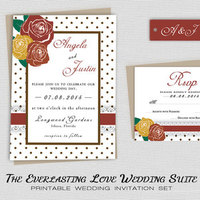 Printable Fall Rustic Wedding Invitation, Country Wedding, Printable Floral Wedding Invite w/ Roses - Red Yellow Orange, Barn Wedding