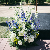 Blue and White Ceremony Flowers