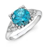 Platinum & Blue Zircon Engagement Ring