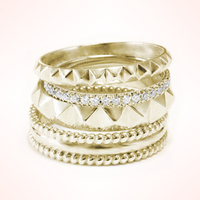 Killer Gold Pyramid Wedding Rings Stack