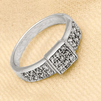STERLING SILVER RHODIUM MEN'S RING W/ ROUND PRONG SET CUBIC ZIRCON IN SQUARE FRAME