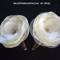 Ivory Satin Hair Clips