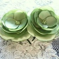 green, Green wedding, green hair clips