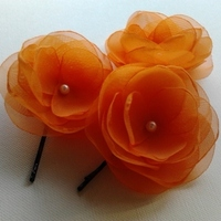 orange wedding, orange hair clips
