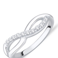 STERLING SILVER INFINITY LOOP CZ RING IN RHODIUM FINISH