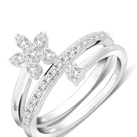 STERLING SILVER FLORAL SPIRAL CZ RING IN RHODIUM FINISH