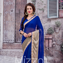 1465989086 thumb photo preview blue georgette saree with lace work 1013
