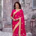 1465989086 thumb photo preview hot pink georgette saree with zari work 1010