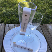 Charming Wine Glass / Champagne Flute Name / Place Card Scroll