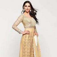 Beige Net Anarkali  Suit With Dupatta