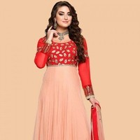 Peach Orange Net Anarkali Suit