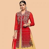 Red And Beige Net Lehenga With Velvet Choli