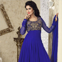 1474360620 thumb photo preview floor length anarkali dresses . royal blue anarkali with intricate neck pattern