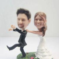 Personalized custom beach wedding cake bobble heads